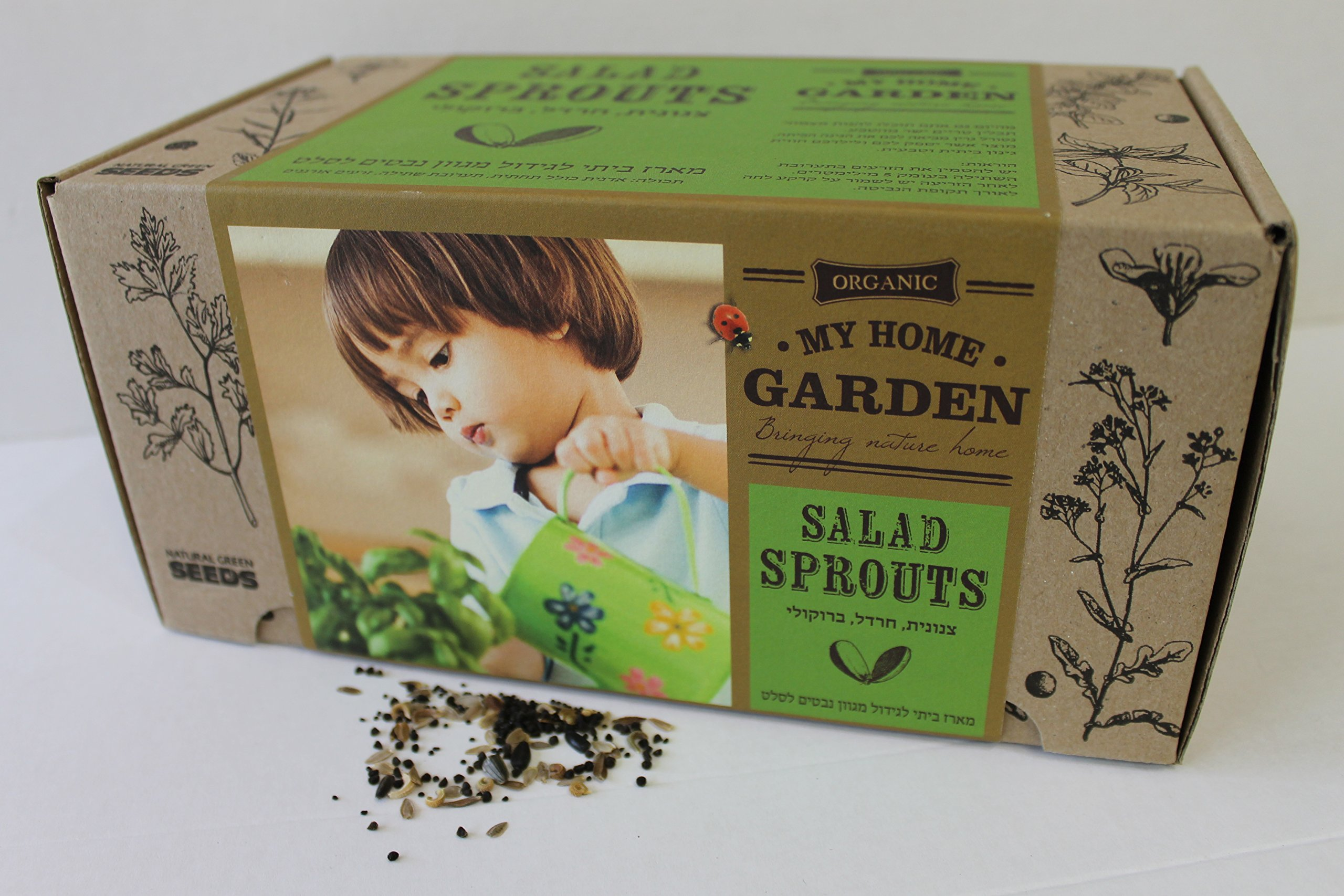 Natural Green Seeds Sprouts Garden Kit| Organic sprout Seeds non-GMO certified| DIY Gardening set Including Planter and Compressed Soil