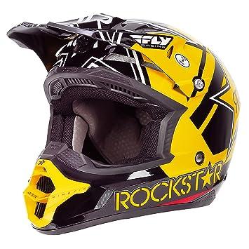 Fly Racing Casco Pro cinética Rockstar, color negro/amarillo, negro, X-