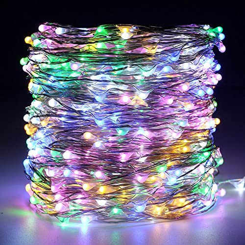 ER CHEN Dimmable Fairy Lights Plug in, 165ft 500 LED Super-Long Silver Coated Copper Wire String Lights with Remote, Outdoor Indoor Xmas Decorative Lights for Bedroom, Patio, Garden, Party-Multicolor