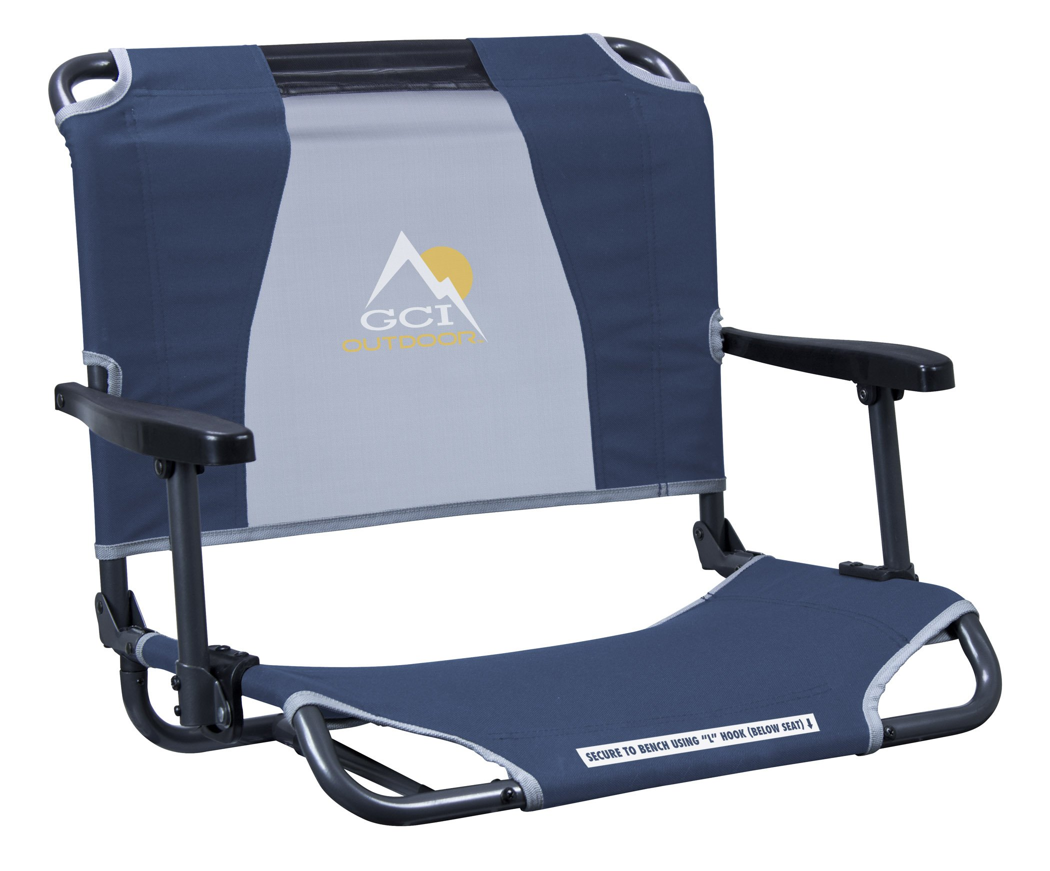 GCI Outdoor Big Comfort Wide Stadium Bleacher Seat with Back and Armrests, Navy
