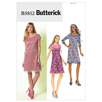 Butterick Schnittmuster 5812 A5 Damen Kleid,Dress,Habiller in 4 ...