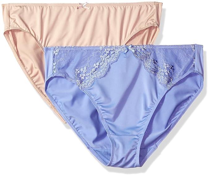 2faeb6c21f5 ELLEN TRACY Women's 2 Pack Microfiber Hi Cut Brief with Lace Panty,  Iris/Sunbeige, 5 at Amazon Women's Clothing store: