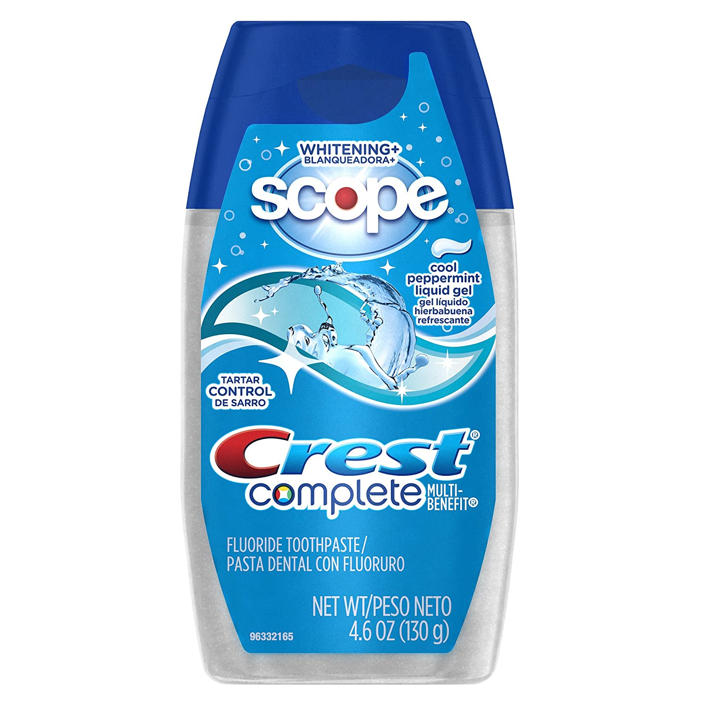 Crest Complete Tartar Control Whitening Plus Scope Liquid Gel - Cool Peppermint 4.6 Oz (Pack of 6)