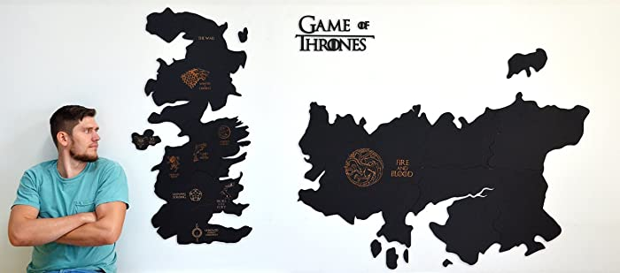 Amazon Com Game Of Thrones Wall Map Wooden Engraved Westeros Map