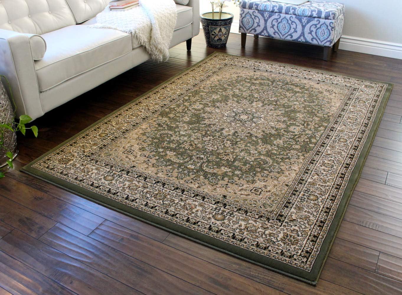 Traditional Area Rug Design Elegance 205 Green 8 Feet x 10 Feet 6 Inch