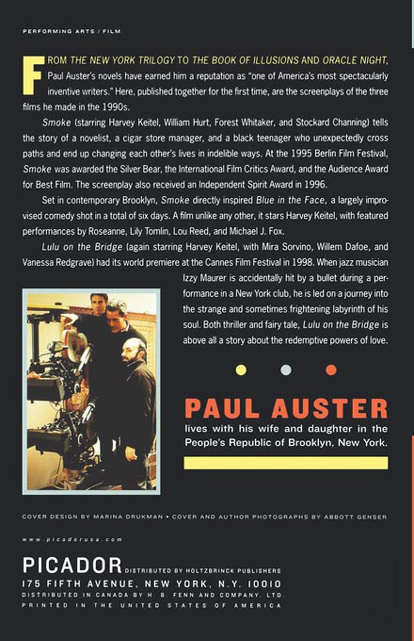 Three Films: Smoke, Blue In The Face, And Lulu On The Bridge: Paul Auster:  9780312423148: Amazon: Books