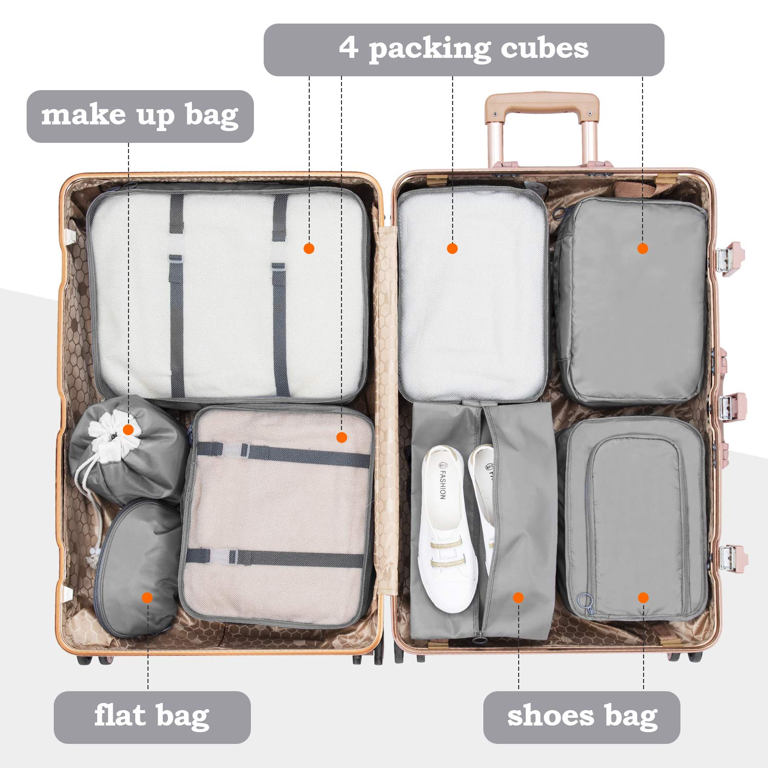 Grey CISHANJIA Packing Cubes 8 set Travel Organiser Acessories with Laundry Bag /& Shoe Bag