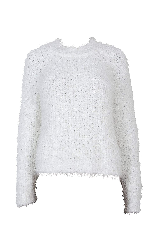 MINKPINK Women's Knit Fluffy Raglan Sleeve Sweater, Off White