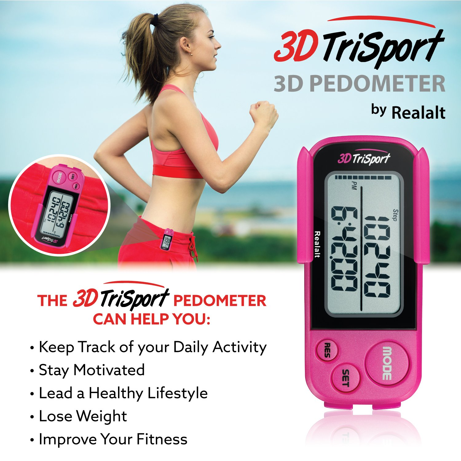 Exercise Time Exercise Time Calorie Counter 30 Days Memory Accurate Step Counter Free eBook Stealth Black RR-12-14-4 Realalt 3DTriSport Walking 3D Pedometer with Clip and Strap Walking Distance Miles//Km Daily Target Monitor