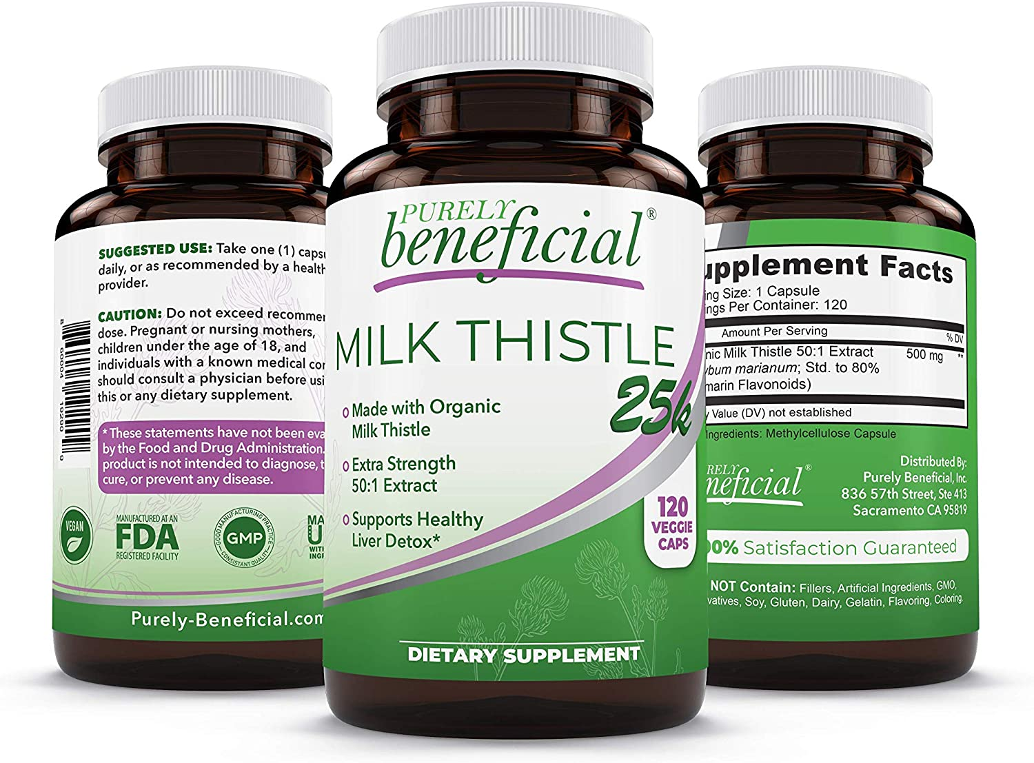 Milk Thistle Capsules- 25,000 MG Strength- 50X Concentrated Seed Extract & 80% Silymarin Standardized- 120 Vegan Pills- Supports Healthy Liver Cleanse & Detoxification, Non-GMO- 4 Month Supply