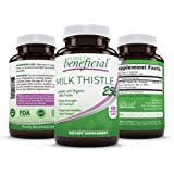 Organic Milk Thistle Capsules- 25,000 MG Strength- 50X Concentrated Seed Extract & 80% Silymarin Standardized- 120 Vegan…
