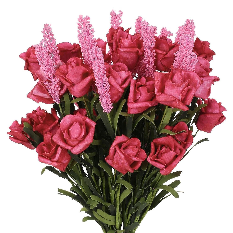 (ソレディ) SOLEDシルクフラワーアレンジメント 人工ブーケ 9ヘッド ロールハートローズ/ラベンダー 結婚式/ホームガーデンの装飾に 5束(45本の花) レッド Artificial Flowers F33 B01N3MJHJS レッド