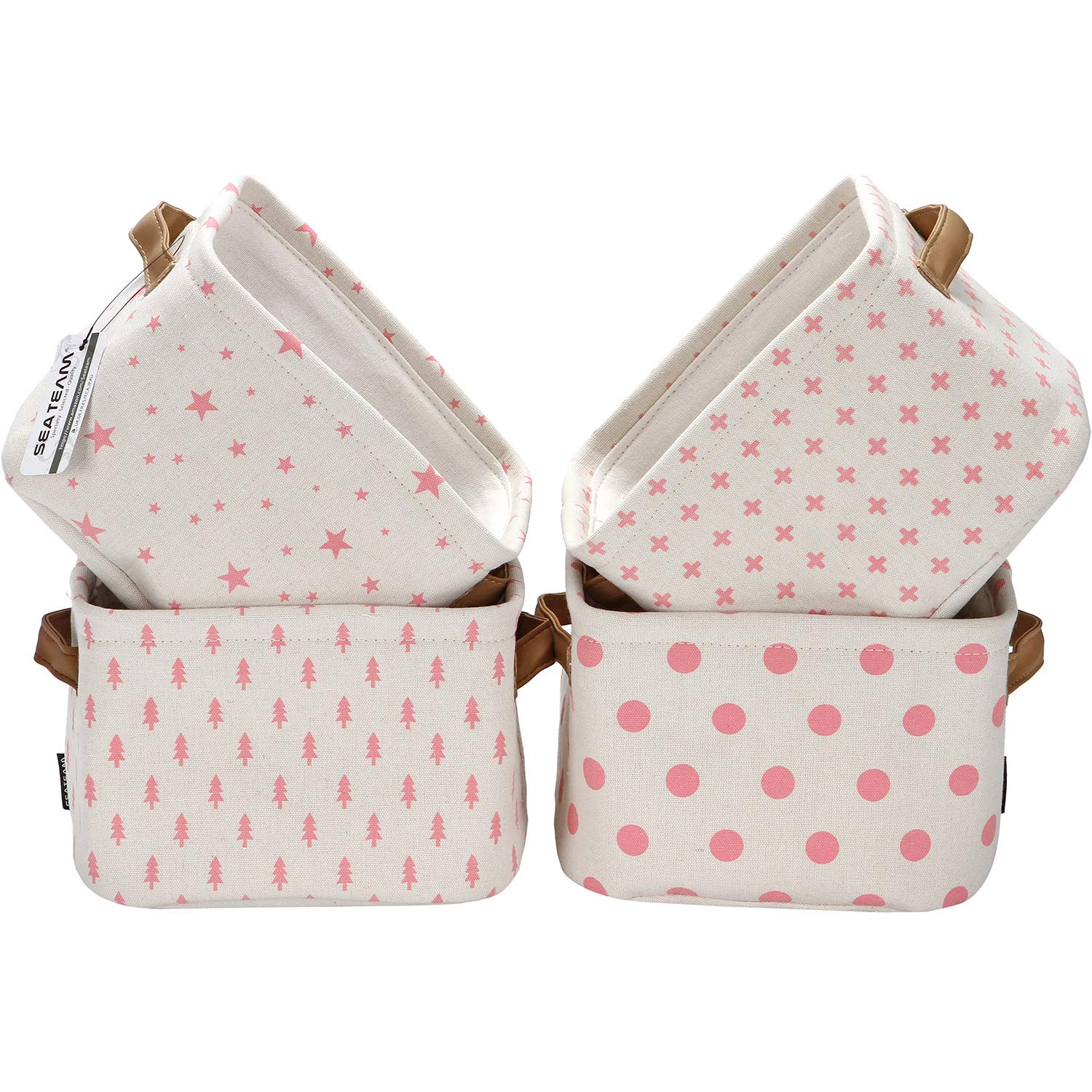 Sea Team Foldable Mini Square New Pink and White Theme 100% Natural Linen & Cotton Fabric Storage Bins Storage Baskets Organizers for Shelves & Desks - Set of 4