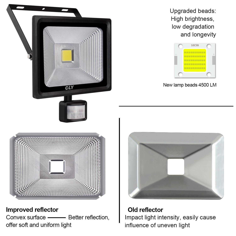 Foco con Sensor de Movimiento 50W Foco led Exterior con Sensor Movimiento 4500LM 6000K Impermeable IP66 para Iluminación de Exterior y Seguridad: Amazon.es: ...