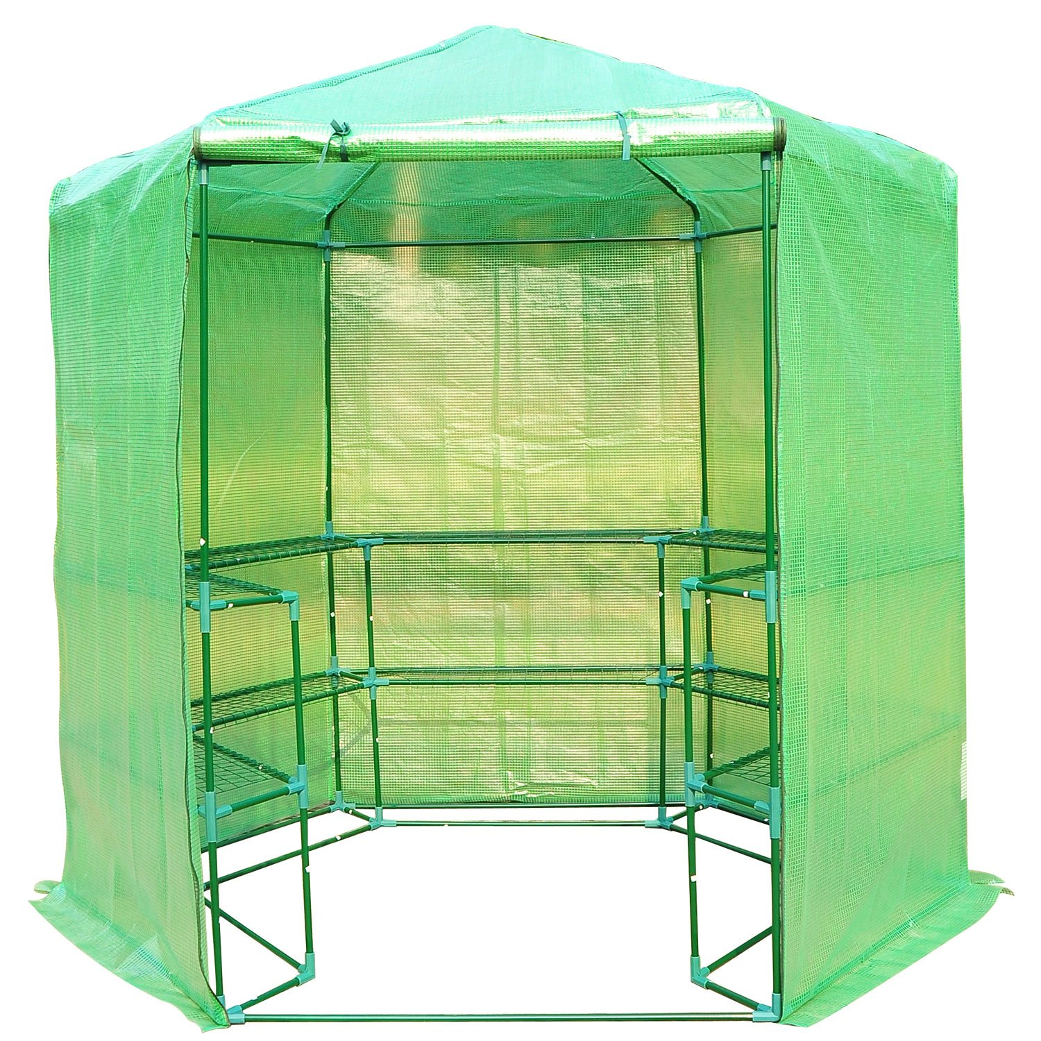 Outsunny Portable 3-Tier Shelf Hexagonal Walk In Greenhouse, 7.5-Feet by Outsunny