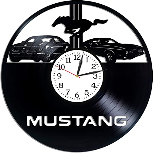 Kovides Ford Mustang Room Art Lp Vinyl Retro Record Wall Clock Exclusive Car Gift Birthday Gift