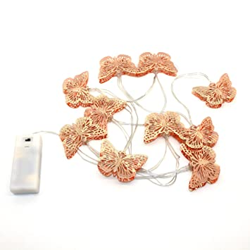 CVHOMEDECO. Roségold Metall Schmetterlings-Design LED Lichterketten ...