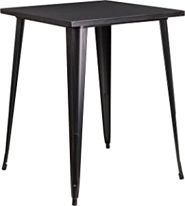 """Flash Furniture Commercial Grade 31.5"""" Square Black-Antique Gold Metal Indoor-Outdoor Bar Height Table"""