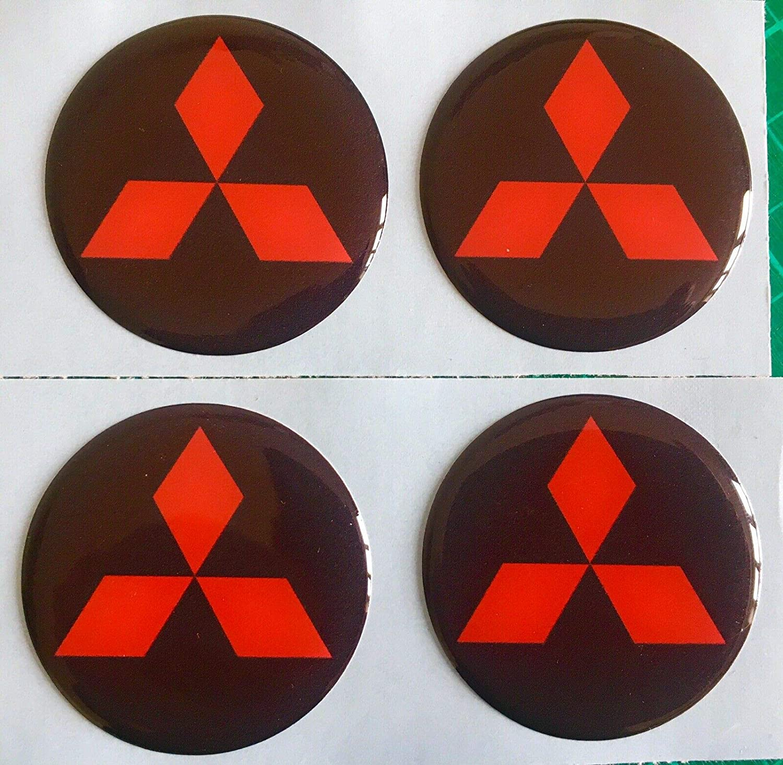 60MM SCOOBY DESIGNS MITSUBISHI ALLOY WHEEL CENTRE CAP DOMED STICKERS BLACK RED DIAMONDS EVO X4 SHOGUN LS200 OUTLANDER