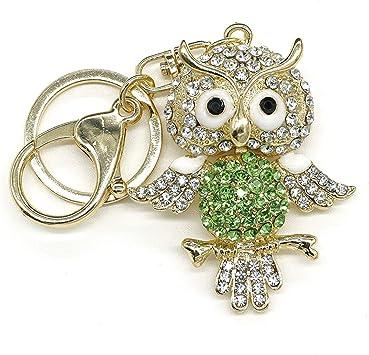 Large Owl Keychain Rhinestone Keyring Charming Bag Pendant Creative Lover Gift