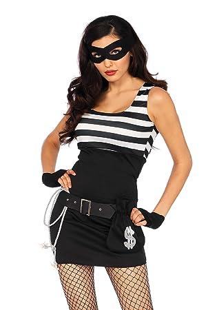 bb08b3a0f5c03 Leg Avenue W50391 – 5-Teiliges Sexy Damen Bankräuberkostüm Kleid ...