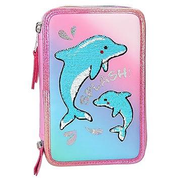 Estuche escritura triple llenocurso Fantasy Model delfines ...