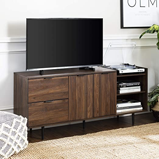 WE Furniture 58 Espresso Wood Modern Corner TV Stand Console for Flat Screen TVs Up to 65 Entertainment Center