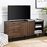 """Walker Edison Modern Wood Stand with Cabinet Doors and Drawers 65"""" Flat Screen Universal TV Console Living Room Storage Shelv"""