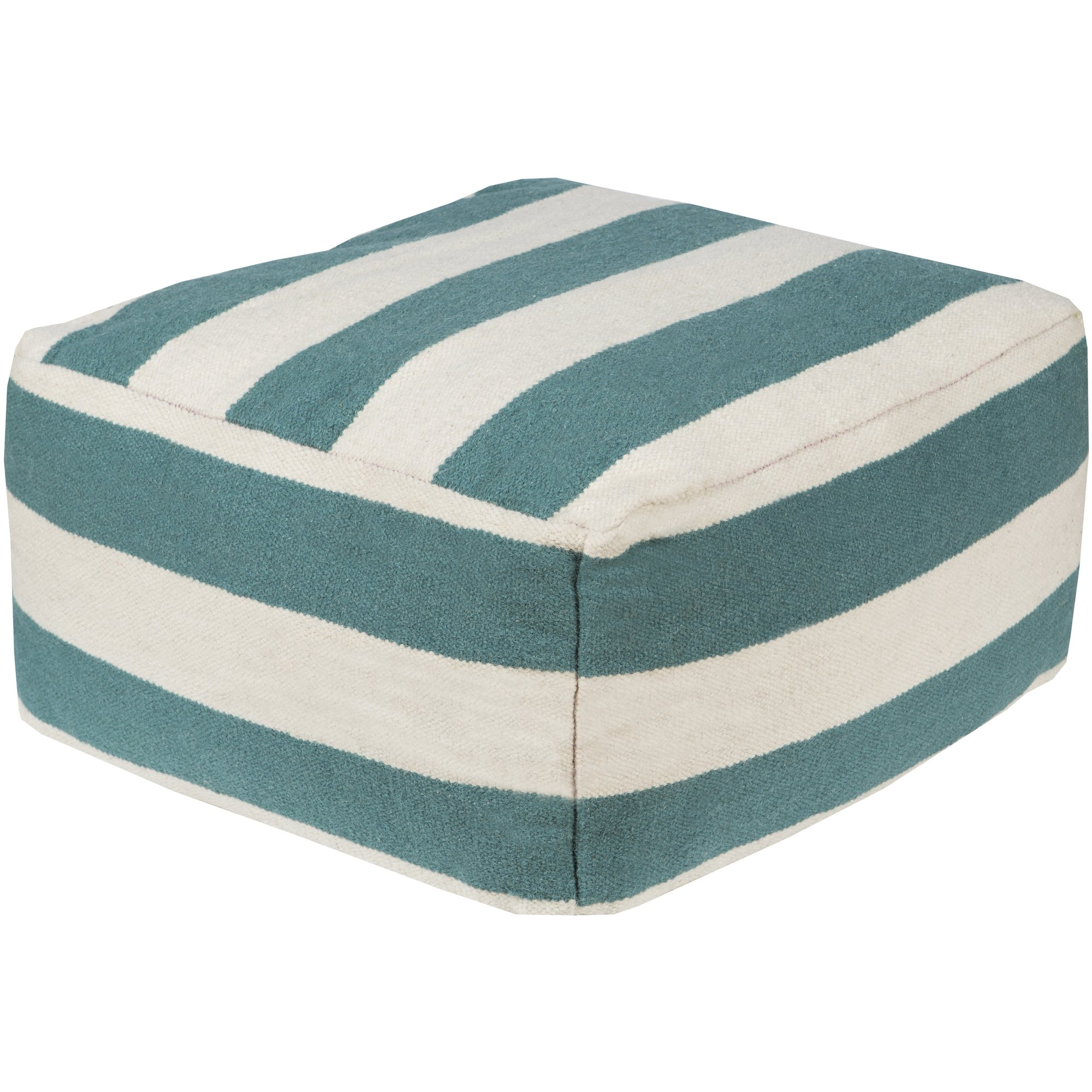 Surya POUF161-242413 100-Percent Wool Pouf, 24-Inch by 24-Inch by 13-Inch, Teal/Ivory