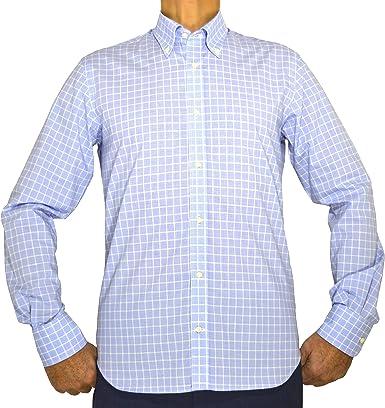 E. MECCI Camisa para Hombre 100% algodón Cuadros Azul Claro Regual Fit Manga Larga: Amazon.es: Ropa y accesorios