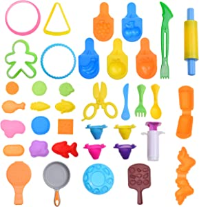 Kare & Kind Dough Tool Kit - 36 pcs Multi-Colored Multi-Shaped Food Cooking Clay Dough with Molds and Extruder Tools - for Girls, Kids, Toddlers, Pre-School - Party Giveaways, Christmas, Birthday Gift