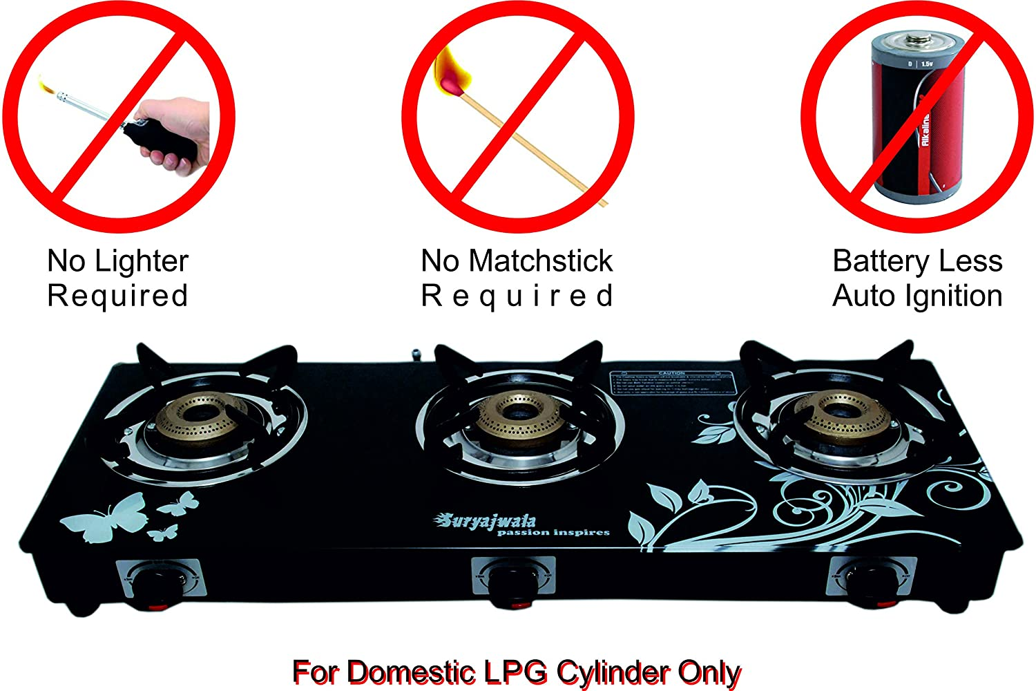 Suryajwala Auto Ignition Royal Designer Cast Iron 3 Burner Gas Stove