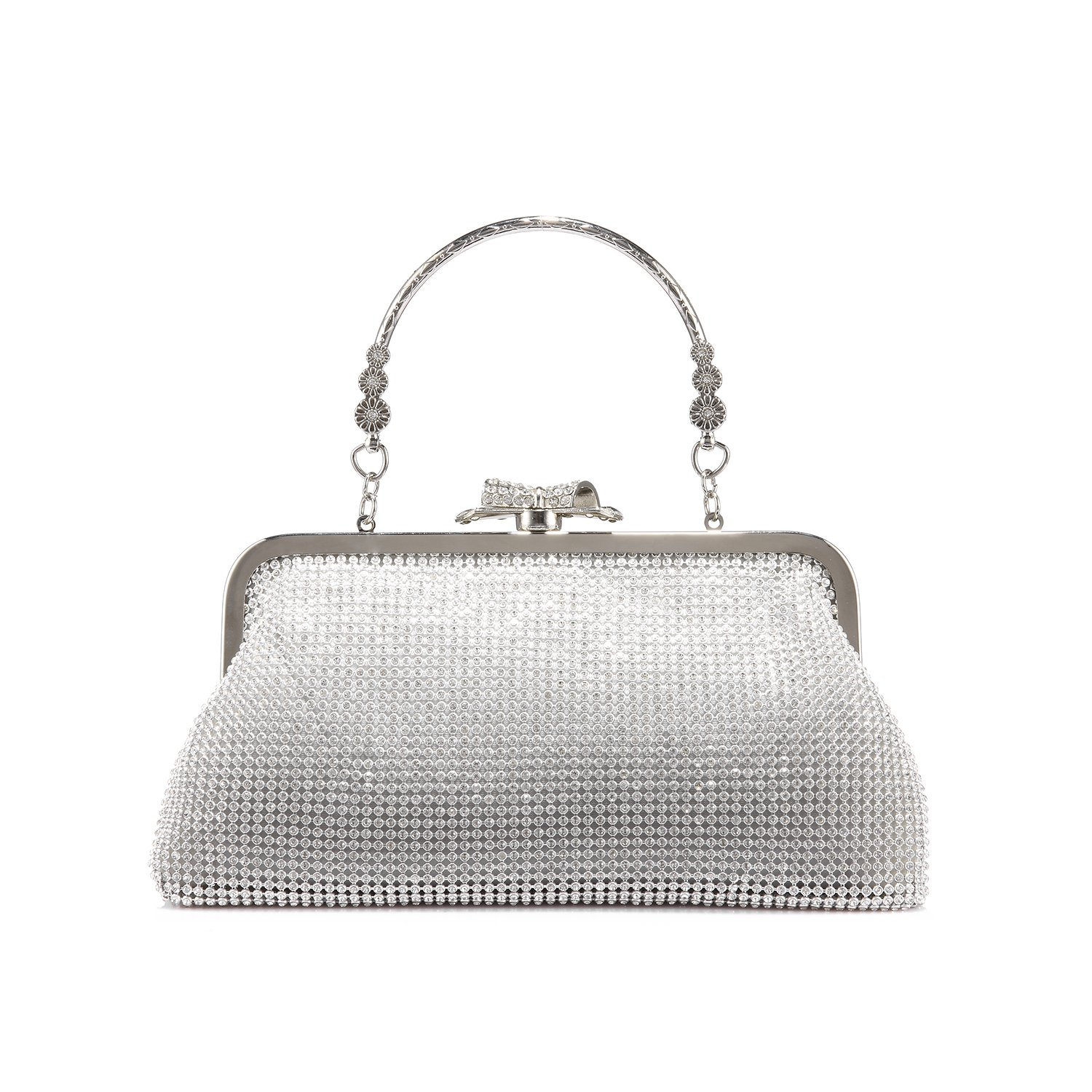 LOVEVOOK Evening Bag Clutch Purse for Wedding with Rhinestones Silver
