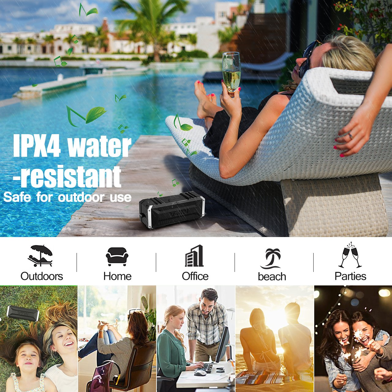 Vtin 20W Outdoor Bluetooth Speaker, Loud Volume, 30 Hours Playtime Portable Wireless Speaker, Waterproof, Dustproof, Shockproof for Indoor and Outdoor Activities - Shower, Pool, Beach, Car, Home by Vtin (Image #6)