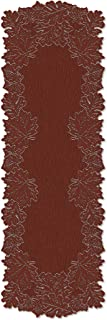 product image for Heritage Lace Leaf 20-Inch by 60-Inch Mantle Runner, Dark Paprika