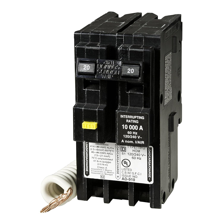 Square D by Schneider Electric HOM220GFIC Homeline 20 Amp Two-Pole GFCI Circuit  Breaker, - - Amazon.com
