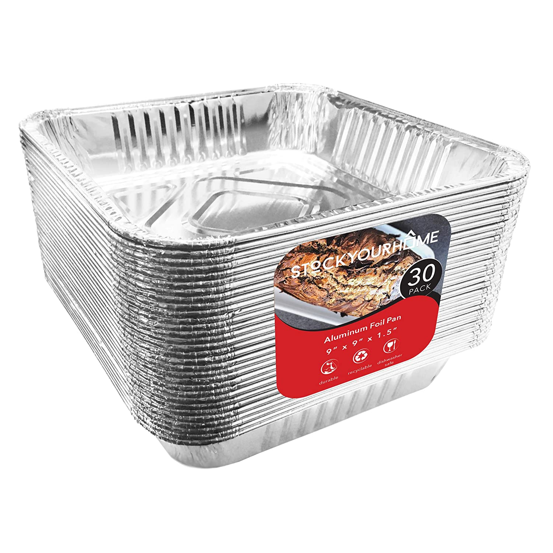 9x9 Aluminum Baking Pans (30 Pack) Square Baking Pans - 9 Inch Cake Pan - Brownie Pan - Lasagna Pan - 9 Inch x 9 Inch x 2 Inch