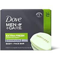 Dove Men+Care 3 in 1 Bar for Body, Face, and Shaving to Clean and Hydrate Skin Extra Fresh Body, (14 Count of 3.75 oz…