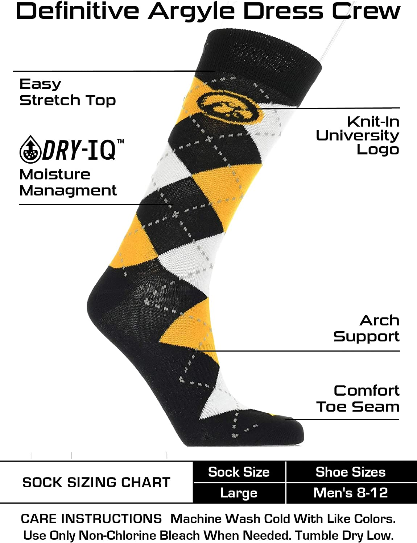TCK Iowa Hawkeyes Argyle Dress Socks NCAA Fanwear Crew Length
