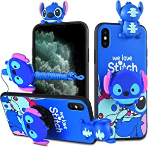 HikerClub iPhone 7 Plus / 8 Plus Case Stitch 3D Cartoon Case with Pop Out Phone Stand Grip Holder and Detachable Long Lanyard Neck Strap Band Soft Lovely Case for Children (Blue, iPhone 7 Plus/8 Plus)