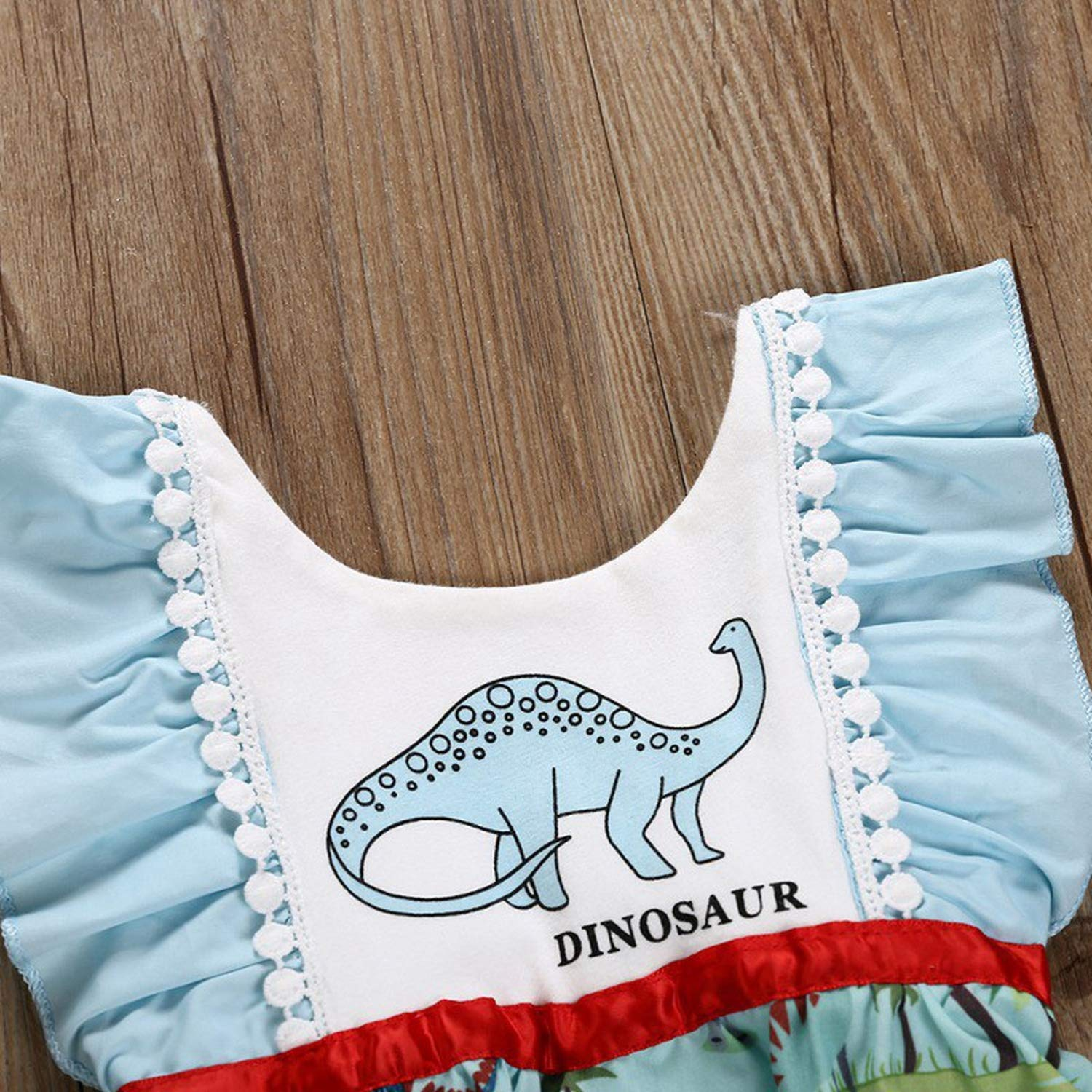 Baby Girl Flare Sleeve Animal Pattern Sister Matching Jumpsuits Outfits Casual Dress Romper Dinosaur Pattern