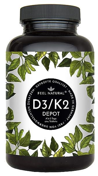 Vitamin D3 + K2 Tabletten. 180 Stück. Hochdosiert mit 5.000 IE Vitamin D3 und 200 µg Vitamin K2 pro 5-Tagesdosis. K2 MK-7 aus