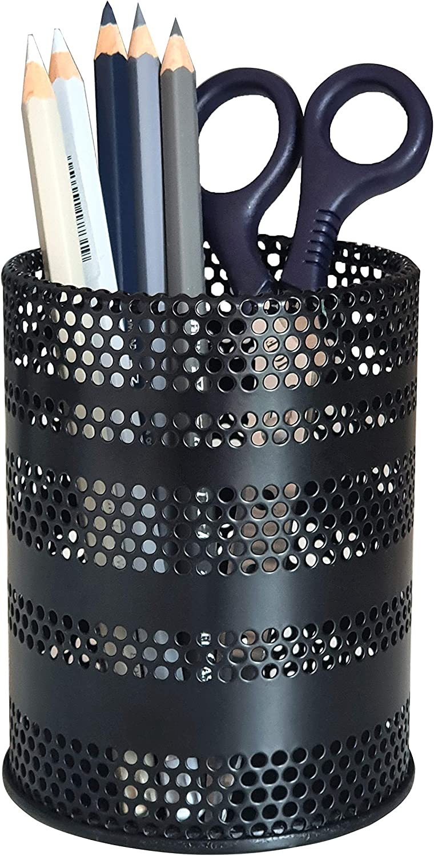Produco Metal Pen Pencil Holder Pencil Cup Office Desk Organizer Makeup Brush Holder, Black (Mid)