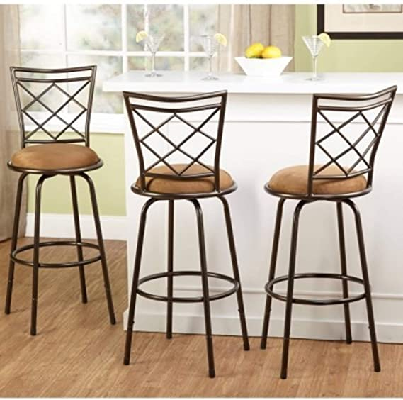 3 Piece Avery Ajustable Height Barstool Multiple Colors Brown Furniture Decor