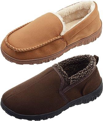 LULEX Moccasin Slippers for Men Memory