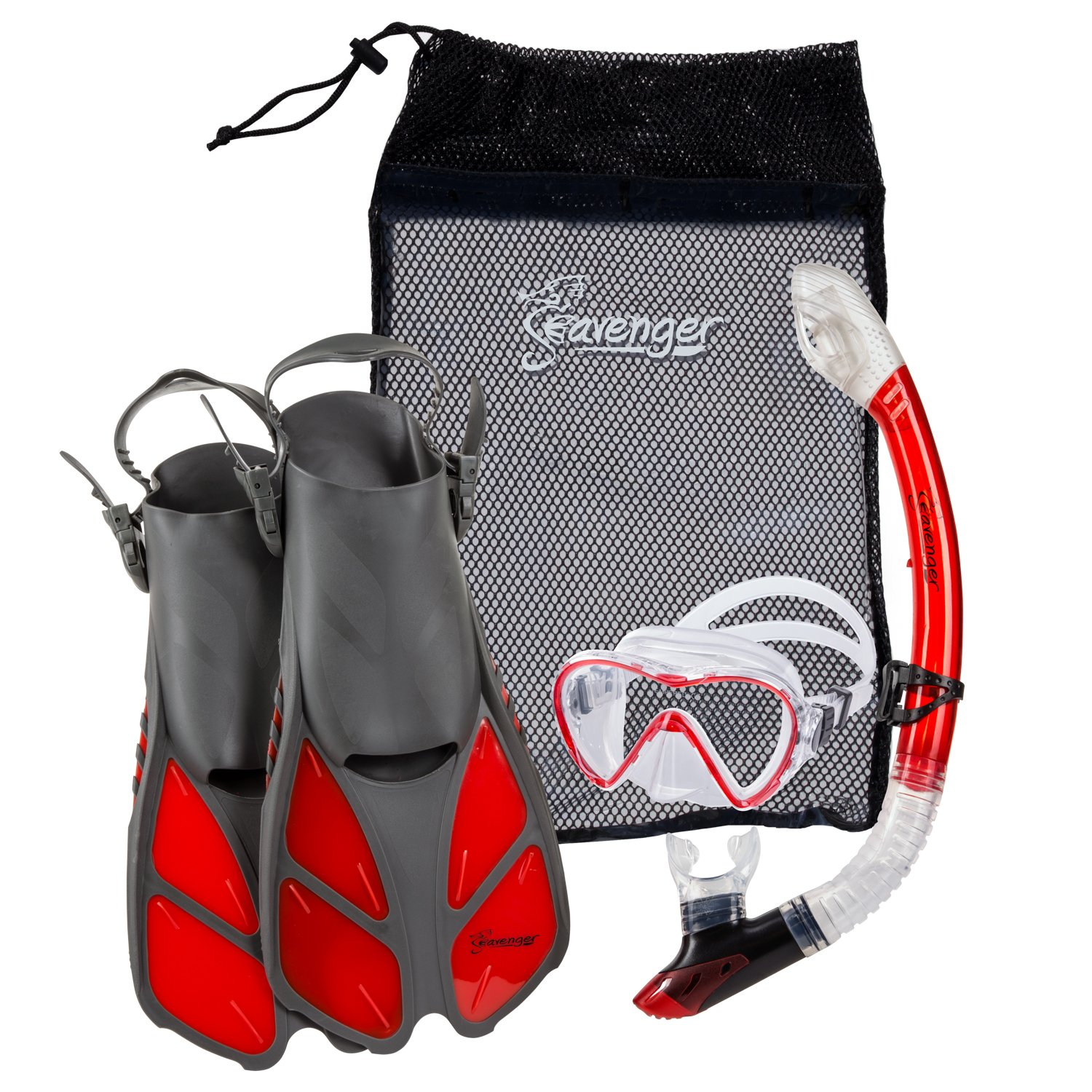 Seavenger Diving Dry Top Snorkel Set with Trek Fin, Single Lens Mask and Gear Bag, L/XL - Size 9 to 13, Gray/Clear Red by Seavenger