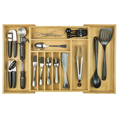KitchenEdge Bamboo Kitchen Drawer Organizer for Silverware and Utensils, Expandable to 28 Inches Wide, 10 Compartments