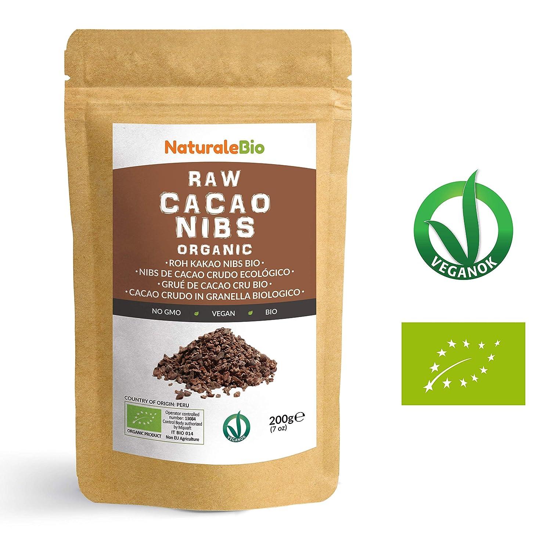 Nibs de Cacao Crudo Ecológico 200 g | 100 % Puntas de Cacao Bio, Natural y Puro | Cultivado en Perú a partir de la planta Theobroma cacao | Rico en ...