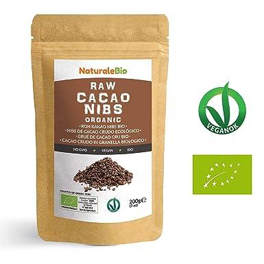 Nibs de Cacao Crudo Ecológico 200 g | 100% Puntas de Cacao Bio, ...