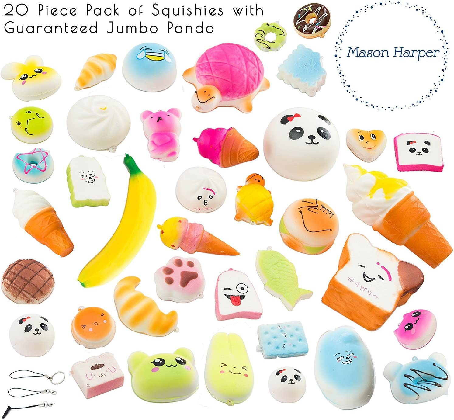 MasonHarper Random 20 Pack of Slow Rising Kawaii Squishies (Jumbo, Medium & Mini Soft Squishy Toys), Variety of Panda, Buns & Cake Squishies, Straps for iPhone & Android Headphone-Jack, Stress Relief